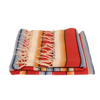 Vintage Mexican Saltillo Serape Throw