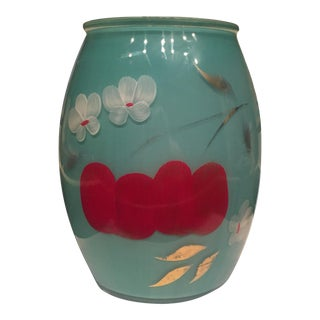 Hand Painted Red & Turquoise Cherry Blossom Vase