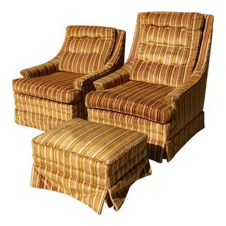 Vintage Mid-Century Burnt Orange Striped Velvet Chairs & Ottoman - Set of 3
