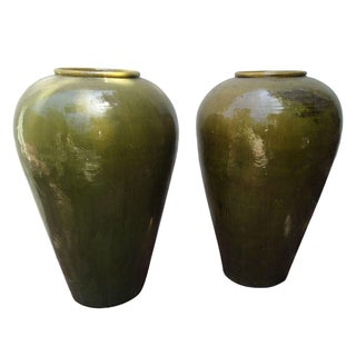 Green Urn Vases - A Pair