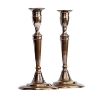 18th Century English Bell Metal Candlesticks - a Pair