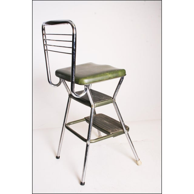 Image of Mid-Century Green Vinyl Chrome Cosco Step Stool