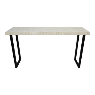 White Herringbone Inlay Console Table