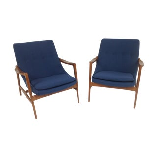 Blue Chenille Mid-Century Lounge Chairs - a Pair