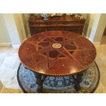 Image of Round Antique Ivory Inlaid Dining Table