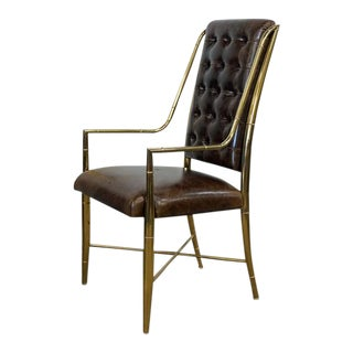 Faux Bamboo and Brown Leather Chair