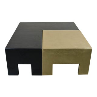 Sectional Coffee Table - Black Lacquer & Brass