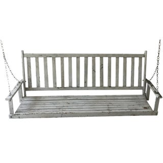 Distressed White Wood Porch Swing