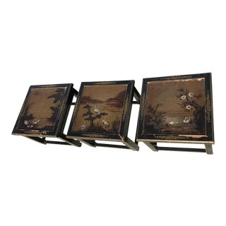 Hand Painted Ming Asian Style Side Tables - Set of 3