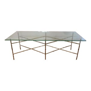 Hollywood Regency Faux Bamboo Brass Coffee Table