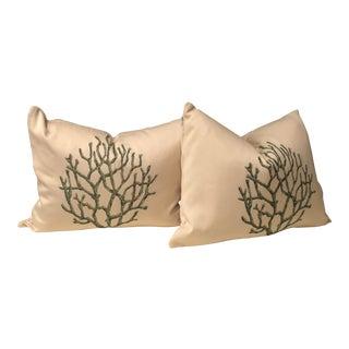 Creamy Green Coral Plants Bolster Pillows - a Pair
