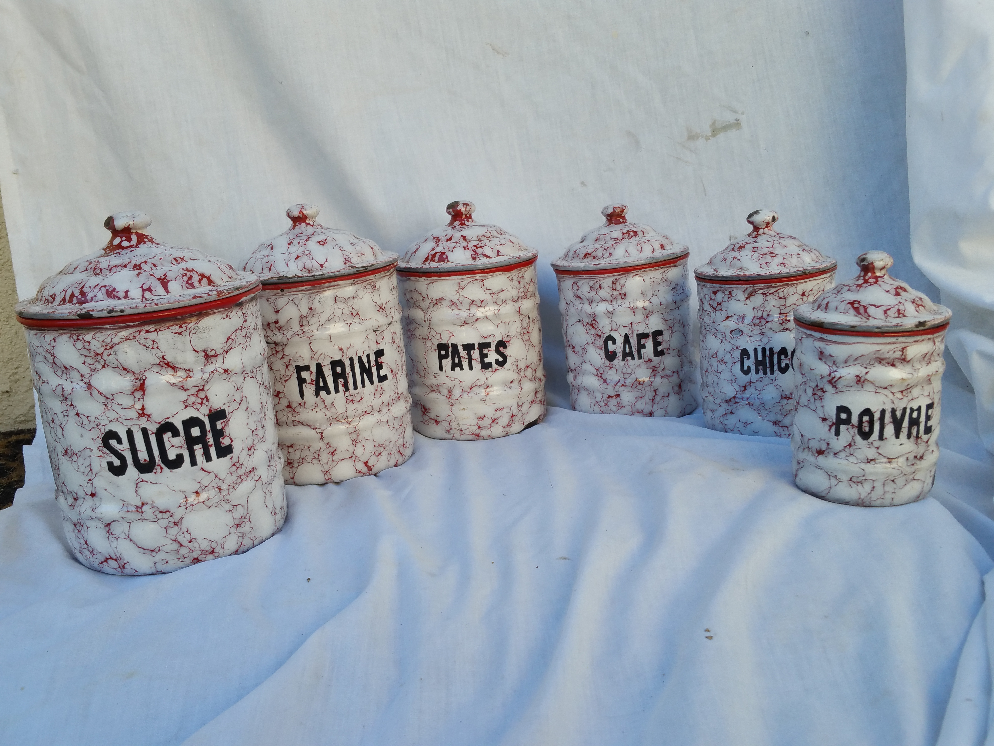 french red amp white kitchen canister set chairish french ceramic canisters set of 6 omero home
