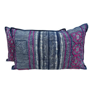 Dark Blue and White Batik Pillows w/ Fusia Embroidery