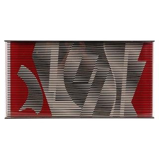 Contemporary Gray & Red Acrylic Optic Art