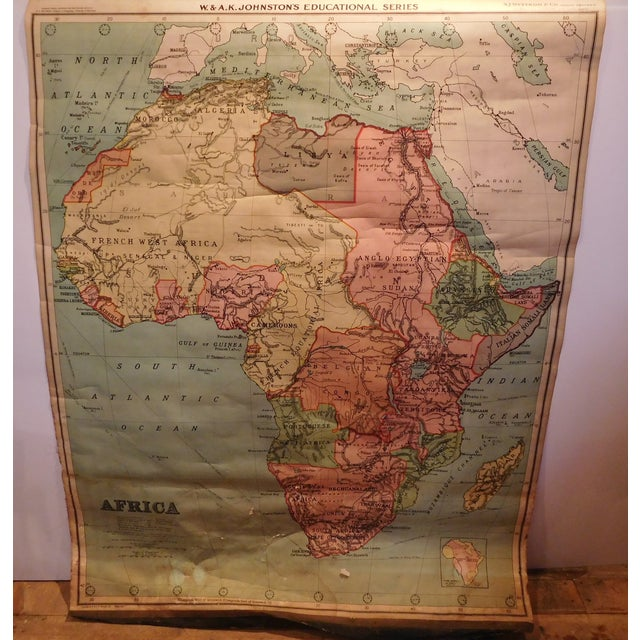 Antique 1922 Linen Educational Maps & Holder - S/5 - Image 9 of 9