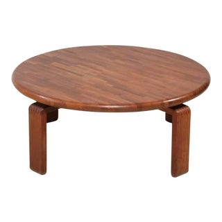 Round Wooden Slat Studio Coffee Table, USA, 1960s