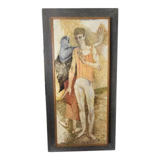 Framed Mid-Century Male Acrobat Painting