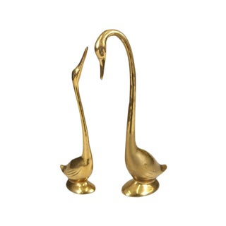 Vintage Brass Swan Figurines - A Pair