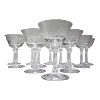 Mid-Century Crystal Champagne Coupes - Set of 12