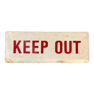 "Vintage Metal Two Sided ""Keep Out"" Sign"