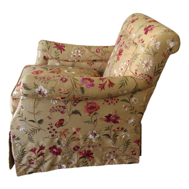 Silk Embroidered March Rocker Swivel Glider Chairs - a Pair - Image 3 of 6