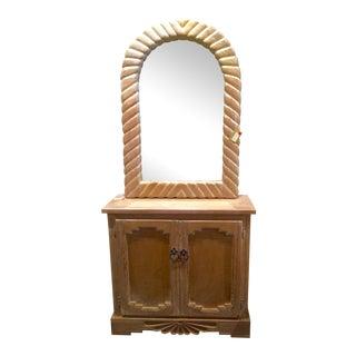 Vintage Southwestern Solid Pine Cabinet & Mirror