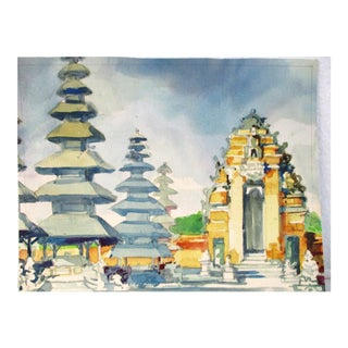 Asian Pagodas Watercolor Painting