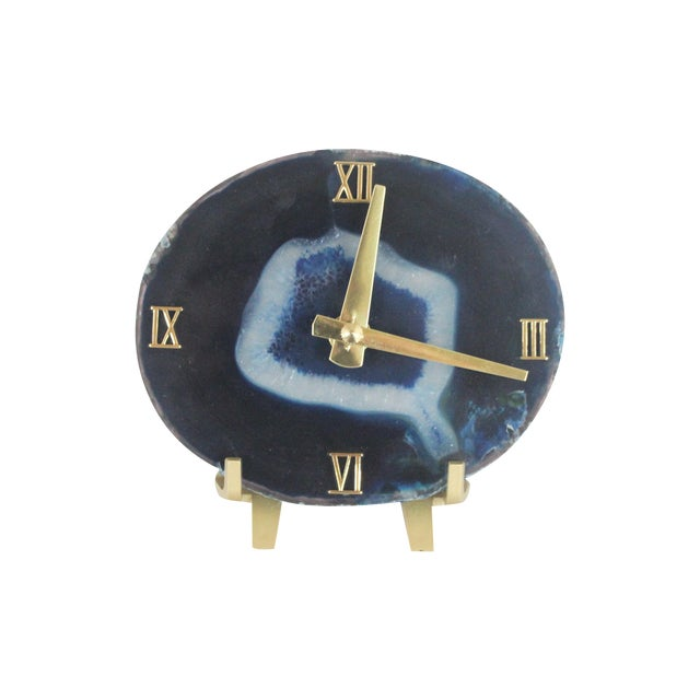 Image of Handmade Modern Blue SoLo Agate Clock on Acrylic