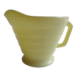 Mid-Century Lemon Yellow Glass Small Cream Pitcher