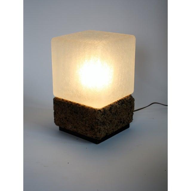 Cube Cork Amp Glass Shade Lamp Chairish