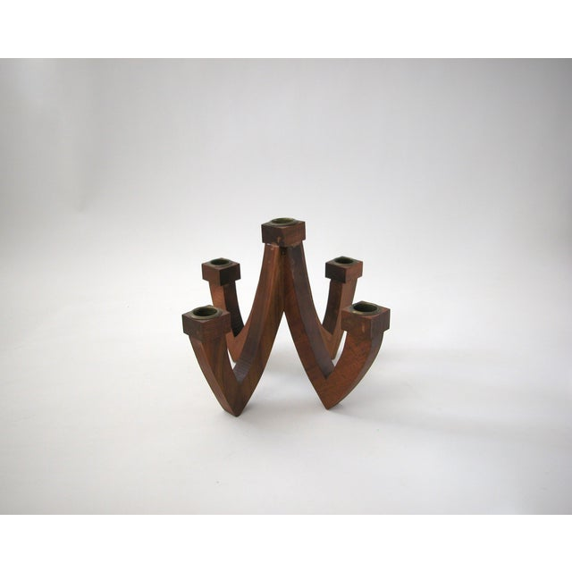 Mid-Century Wood Candle Holder - Image 5 of 9