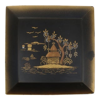 Chinoiserie Black & Gold Pagoda Landscape Tole Tray
