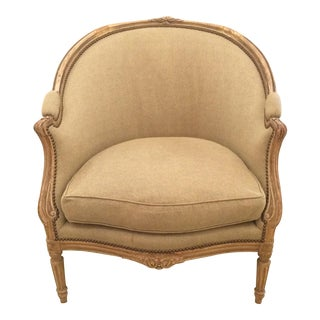 Louis XV Style Antique French Bergere Club Chair