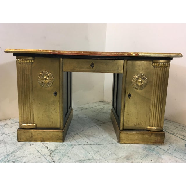 French Neo-Classical Style Gold Leaf Desk - Image 6 of 10