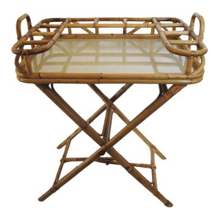 Mid-Century Rattan Tray Table