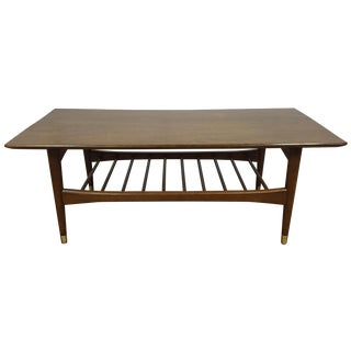 Mid-Century Brass-Capped Leg Coffee Table