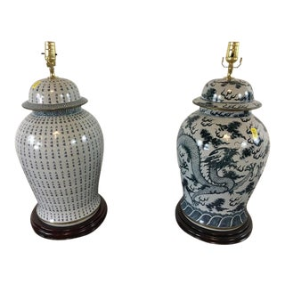 Ceramic Blue & White Ginger Jar Lamps - A Pair