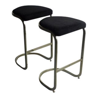 Mid-Century Brass Cantilever Bar Stools - A Pair
