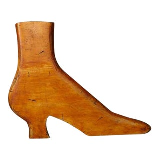 Antique 19th Century Hand-Carved Wooden Shoe Trade Sign