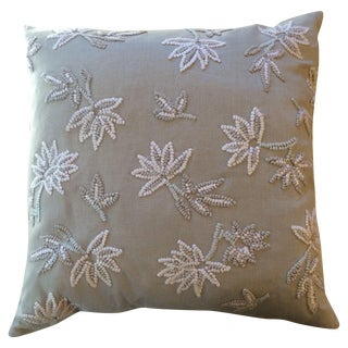 Light Beige Pillows with Decorative Detail - Pair