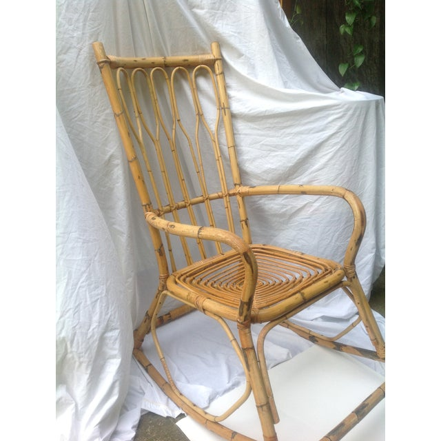 Mid-Century Ficks and Reed Style Bamboo Rocking Chair - Image 4 of 8