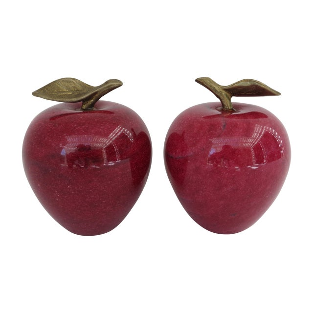 Marble Apple Paperweights- A Pair - Image 1 of 5