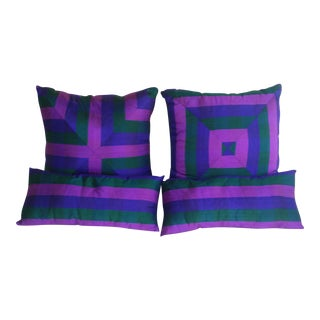 Dupione Silk Striped Greens & Purple Pillows - Set of 4