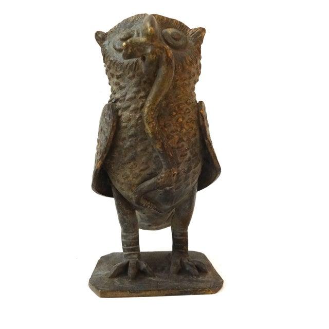 Image of Bronze African Ashanti Akan Sculpture - Owl