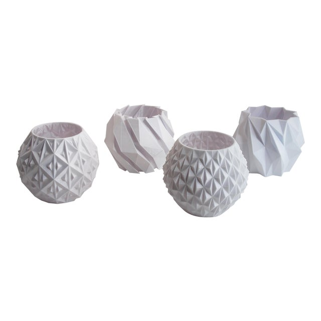 Small White Geometric Planters - Set of 4 - Image 1 of 4