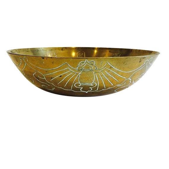Image of Vintage 1920 Solid Brass Etched Bat Bowl
