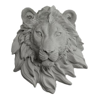 Wall Charmers Gray Faux Taxidermy Lion Head Mount