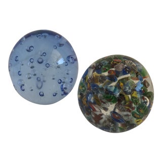 Bubble Glass Vintage Paperweights - A Pair