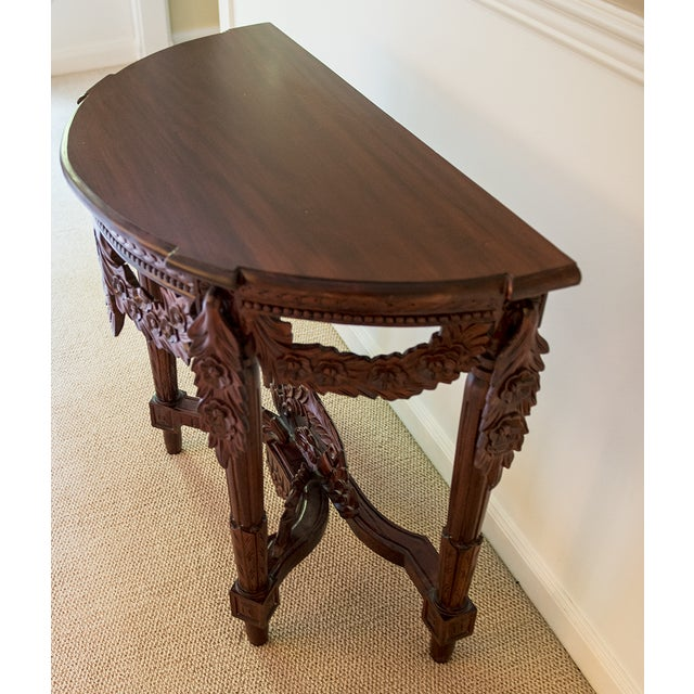 Carved Rosewood Stained Thai Console Table - Image 2 of 4