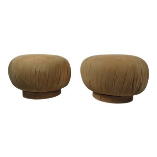 "Karl Springer Style ""souffle"" Poufs - a Pair"